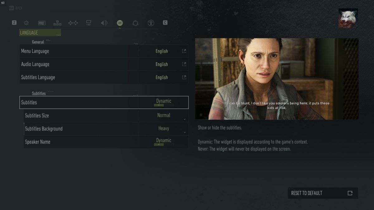 Language menu with subtitles options for size, background opacity and speaker name.