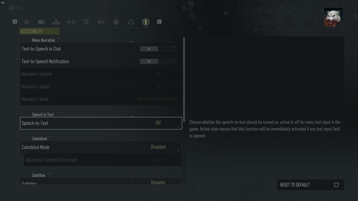 Accessibility menu showing options for Text to speech and Speech to text in chat.