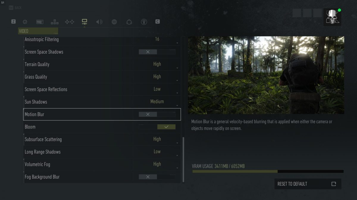 Video menu showing options for terrain quality, motion blur, bloom and other common settings.