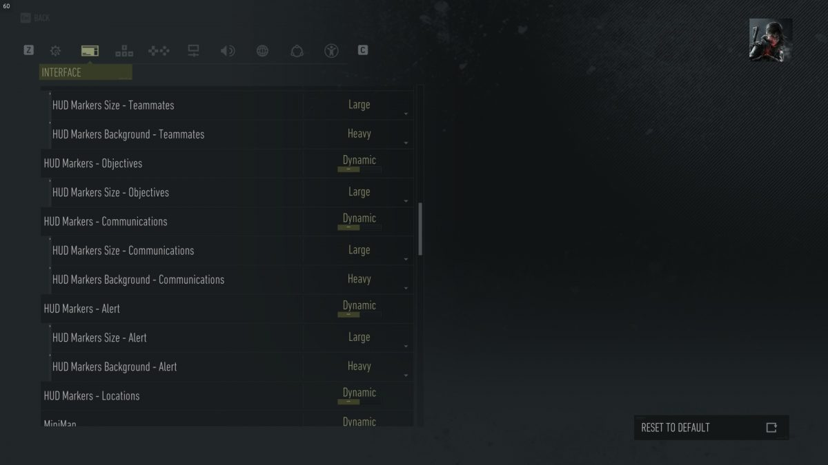 Interface menu showing HUD options with all size values set to large and background to heavy.