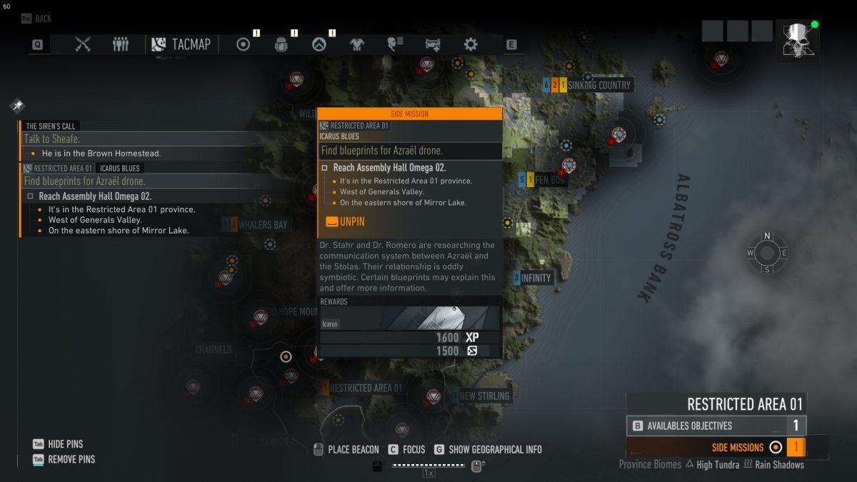Map screen showing missions pinned on the left and a floating window in the center displaying the same information.