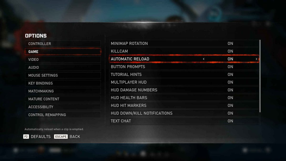 Showing Game options with all options ON but only Automatic Reaload is useful.