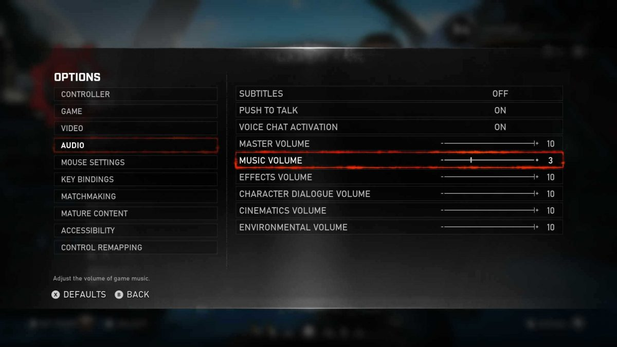 Showing Audio options with music lower than the rest of the game sounds