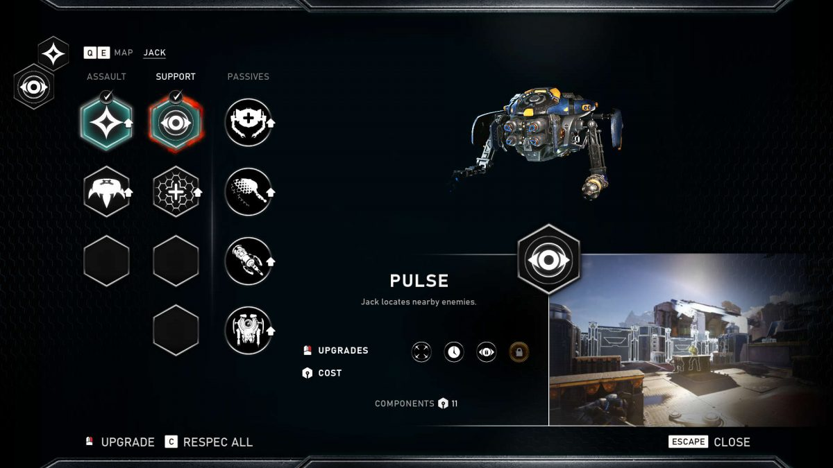 Skills menu showing available skills and a small visual preview