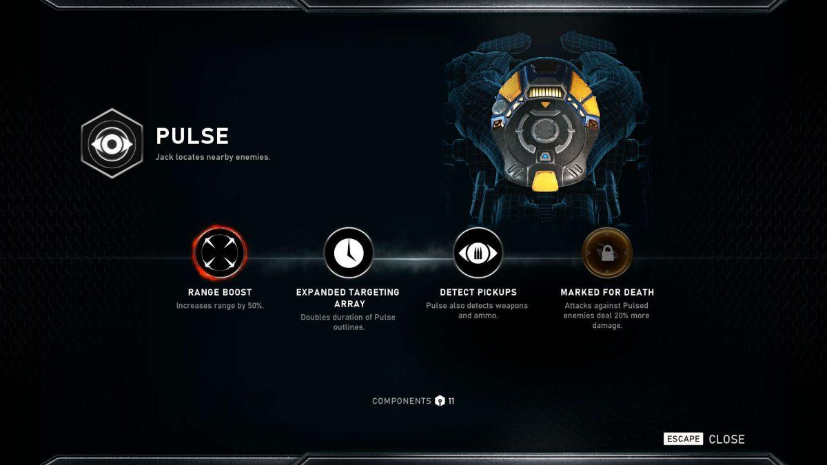 Skill upgrades menu where you can read skill names and improvements