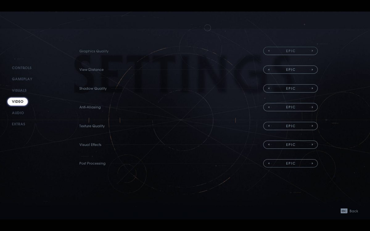 Video menu showing quality settings for graphics, view distance, shadow quality, anti aliasing and others.