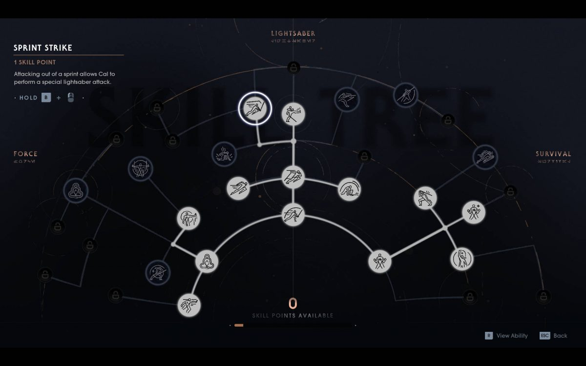 Skill tree screen showing the input required to perform sprint strike.
