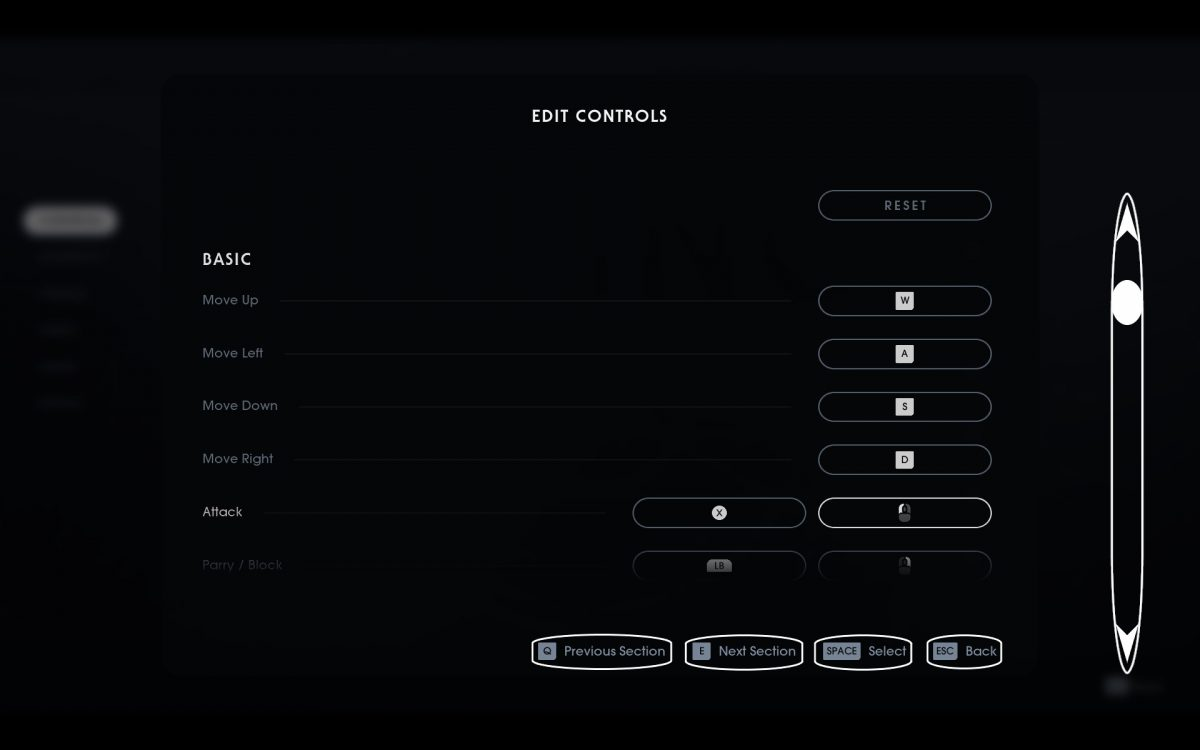 A crude drawing of the edit controls menu with clickable buttons and a scroll bar.