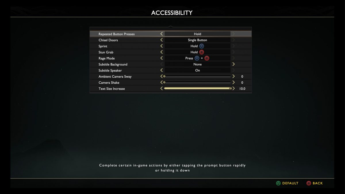 Accessibility menu with options to change repeated button presses, chisel doors, sprint, stun grab, set subtitle background, speaker name, ambient camera sway, camera shake and increase subtitle size.