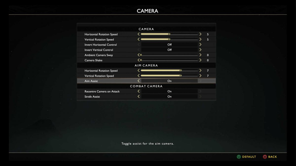 Camera menu with options for horizontal and vertical rotation speed, invert horizontal and vertical control, enable aim assist, recentre camera on attack and strafe assist.