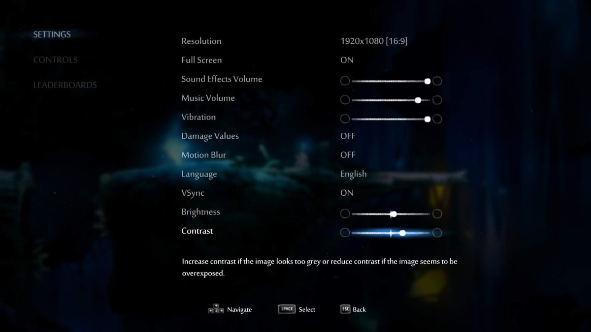 All options in the game such as Resolution, vibration and volume sliders, Damage Numbers, Brightness and Contrast