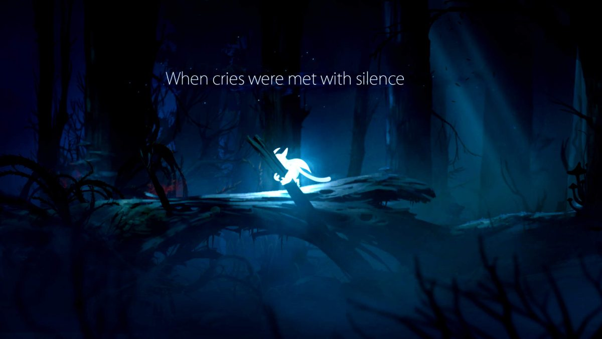 Ori holding on to a branch, he looks tired, with captions saying - When cries were met with silence