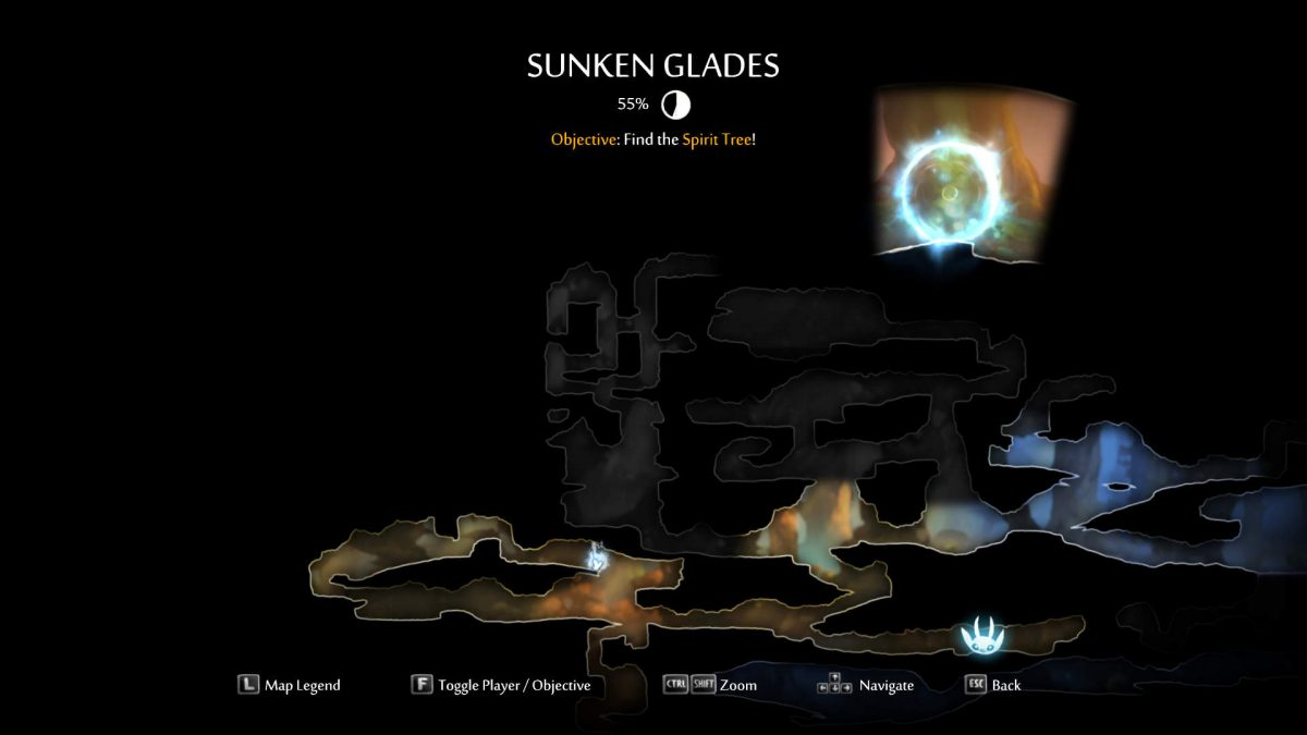 The map. On the top center it says SUNKEN GLADES, completed percentage and the Objective description. On the top right shows the objective circle