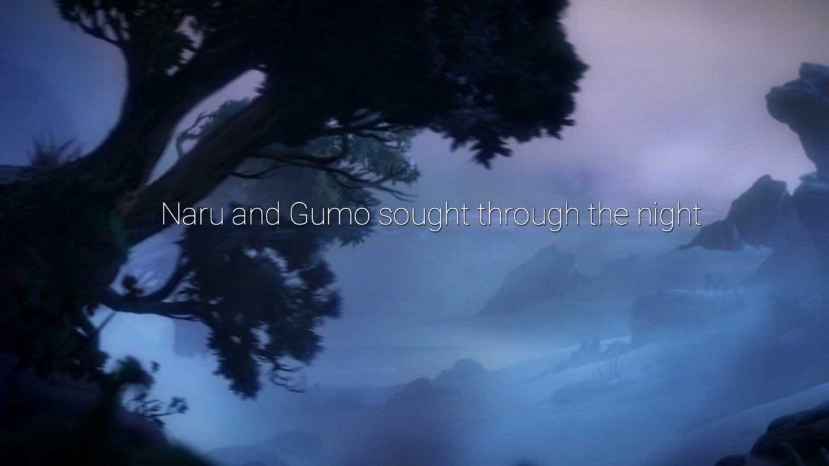 """Naru and Gumo sought through the night"" written in big, thin and white font in front of fogged landscape. There is a tree on the left side of screen."
