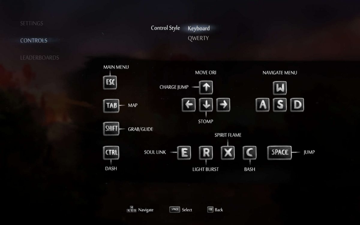 The keyboard control scheme displaying the keys for all inputs