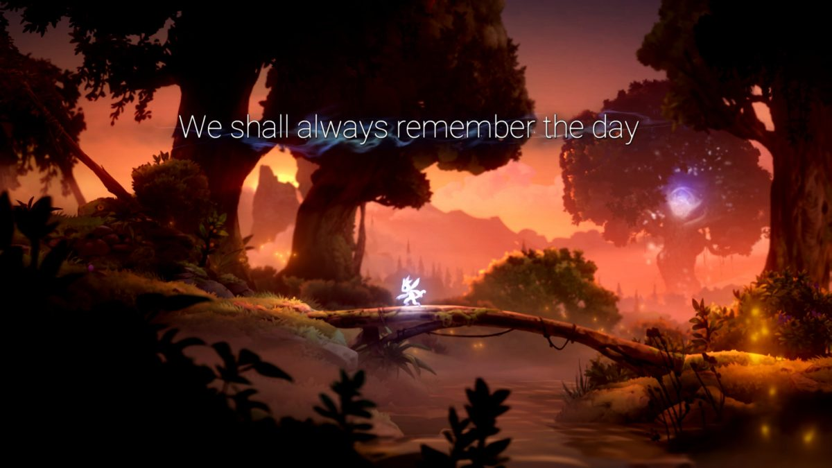 "Ori in a sunset scene with the text ""We shall always remember the day"" text on screen."