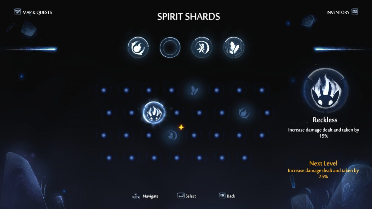 The Spirit Shards screen with bright icons for equipped and available shards in different intensities.
