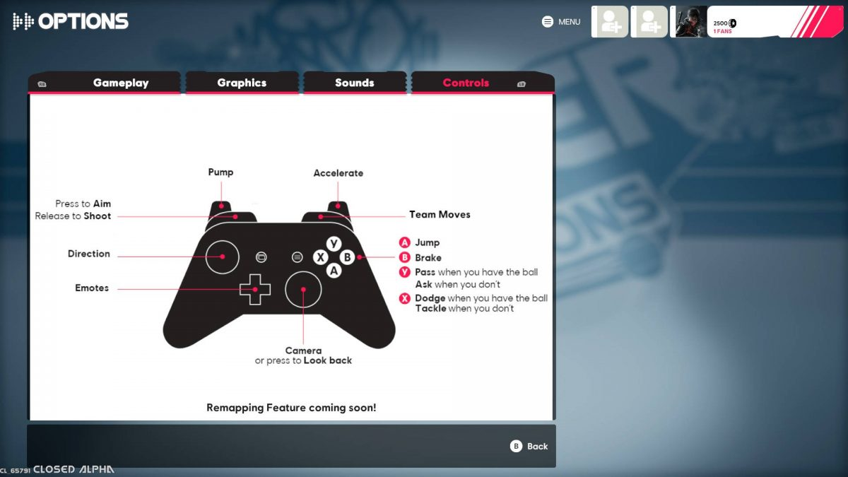 The gamepad control scheme for Xbox control.