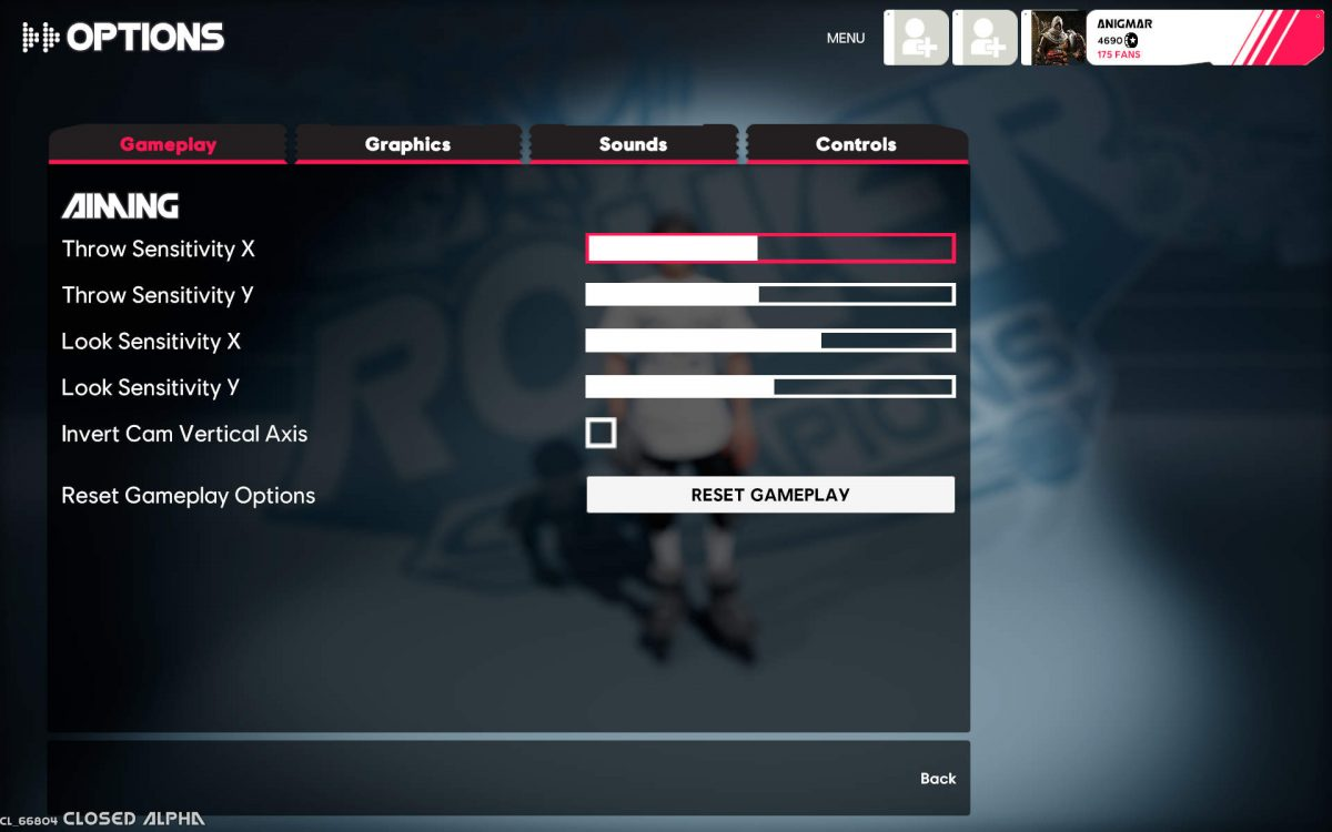 Gameplay menu with options for Throw Sensitivity, Look Sensitivity and Invert Vertical Cam Axis.