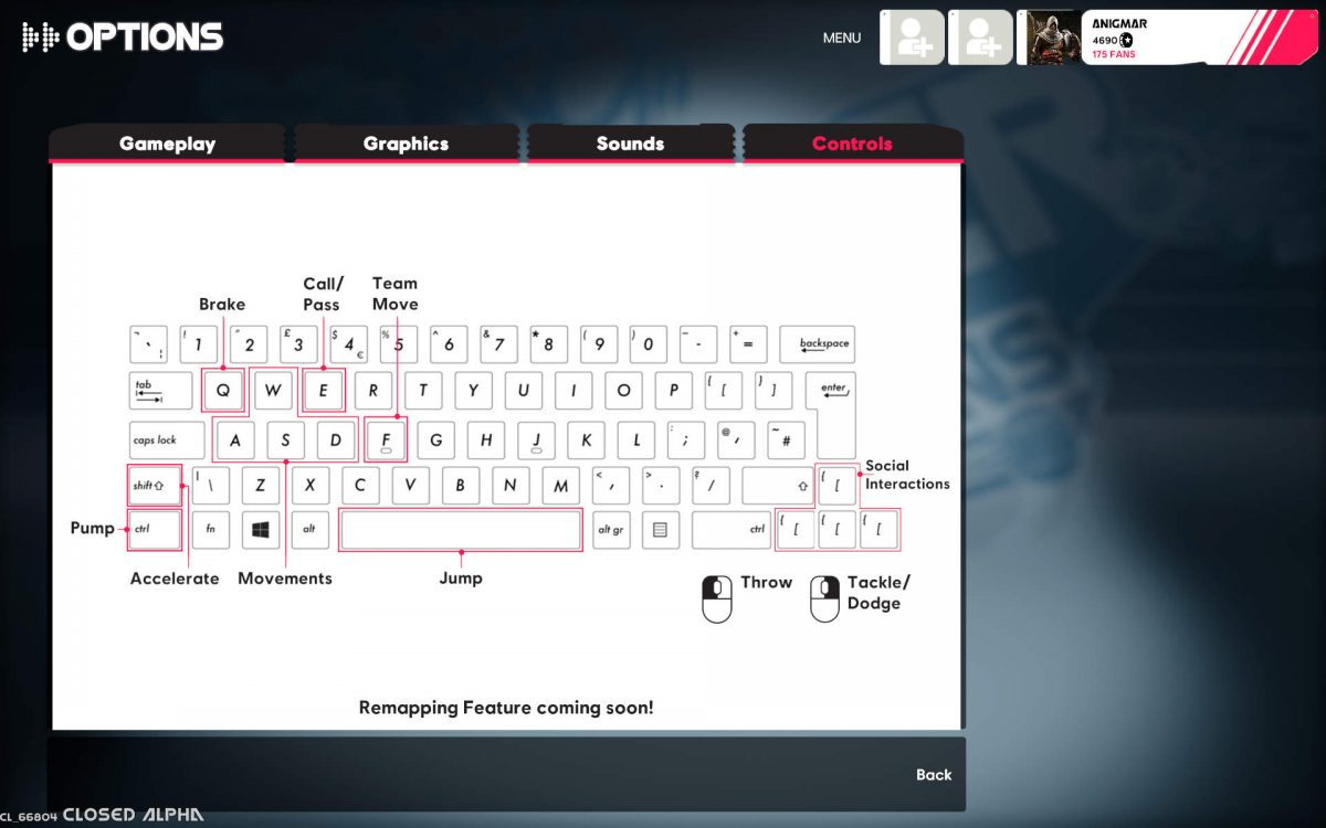 Controls scheme for keyboard and mouse, the text at the bottom reads Remapping Feature coming soon.