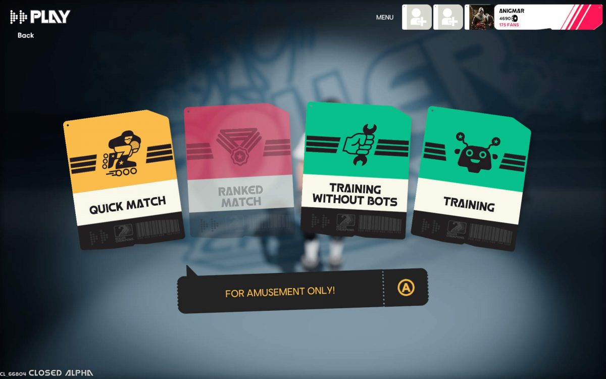 Game modes are Quick Match, Ranked Match, Training without Bots and Training.