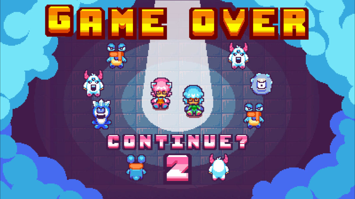 Game over screen with Pushy and Pully surrounded by enemies laughing and a countdown