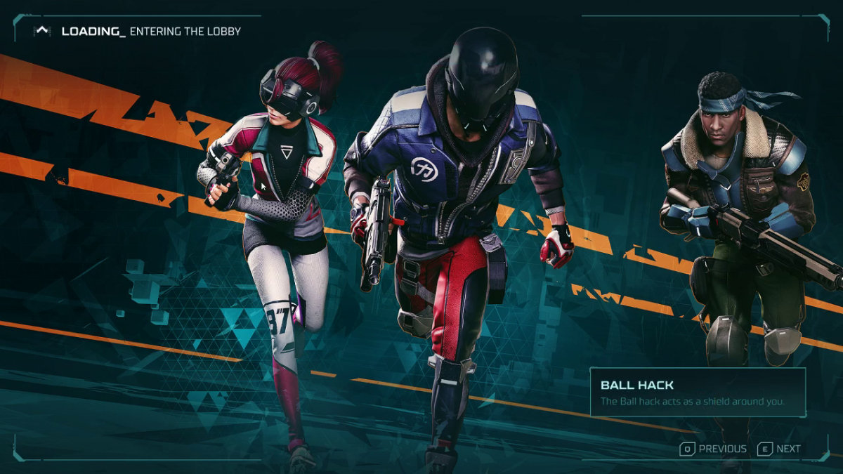 The loading screen. A woman is to the left, holding a pistol and wearing futuristic goggles. The man in the center is holding a bigger gun one-handed and has a biker helmet. The man on the right wearing a combat bandana and holding a shotgun.