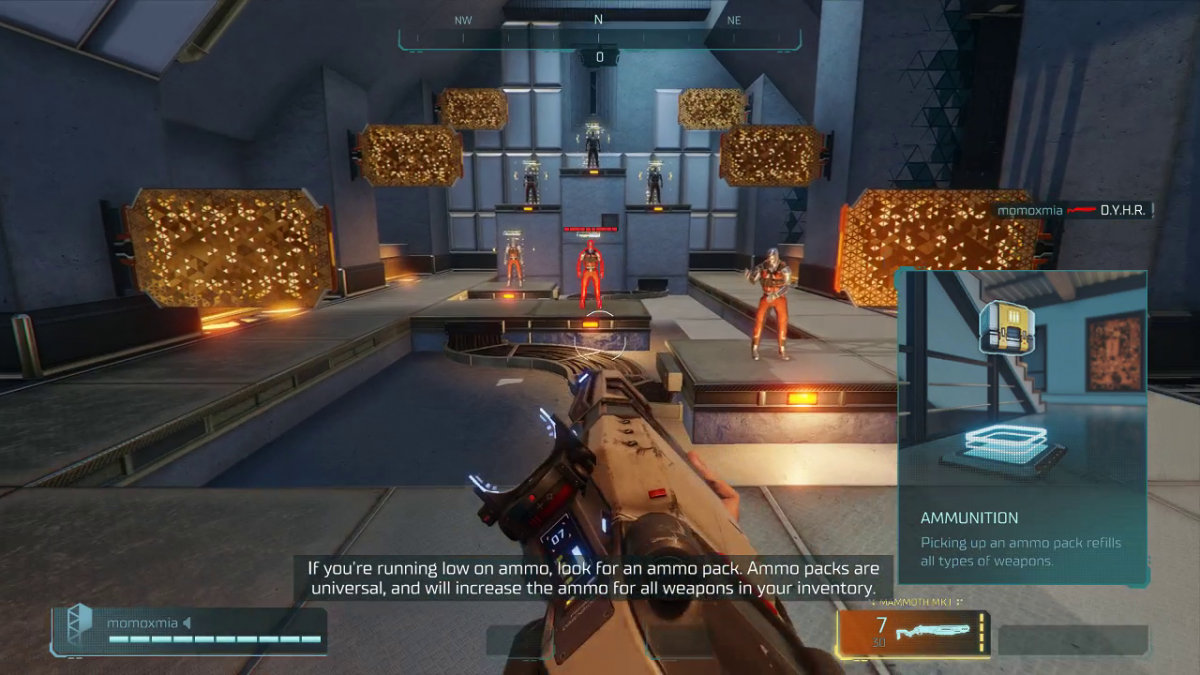 The tutorial, where the user is aiming a gun and transparent subtitles are found on the bottom.