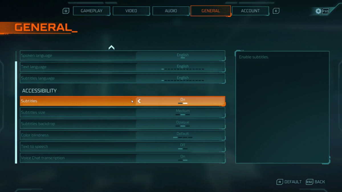 Gameplay settings, which include options to toggle: subtitles, subtitles backdrop, color blindness, text to speech, and voice chat transcriptions.