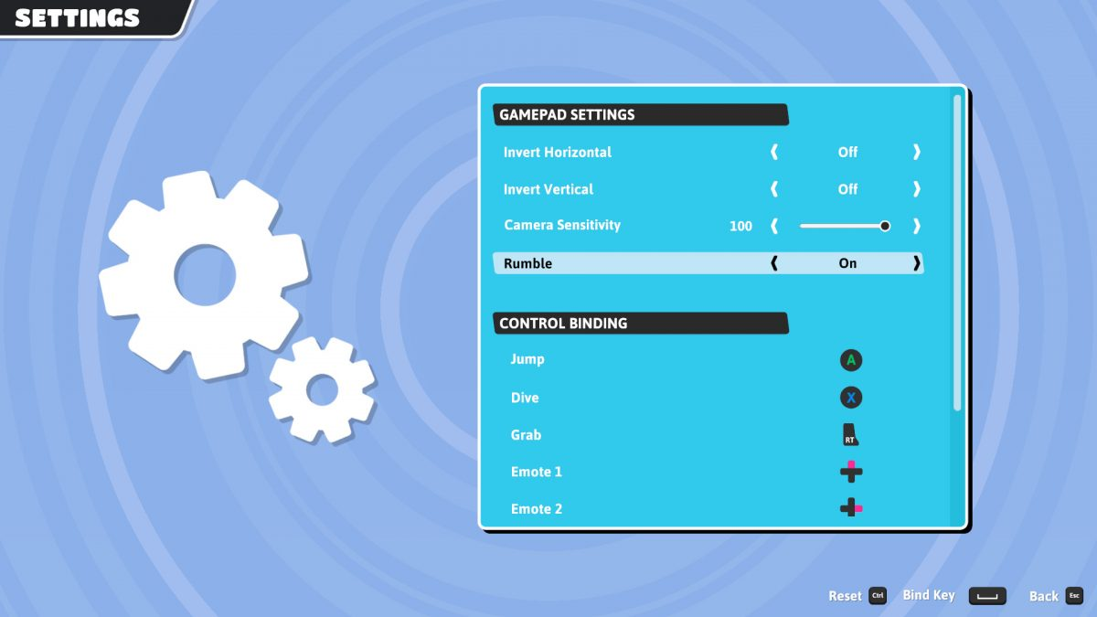 Controller menu with Horizontal and Vertical Inversion, Camera Sensitivity, Rumble on/off and button remapping.