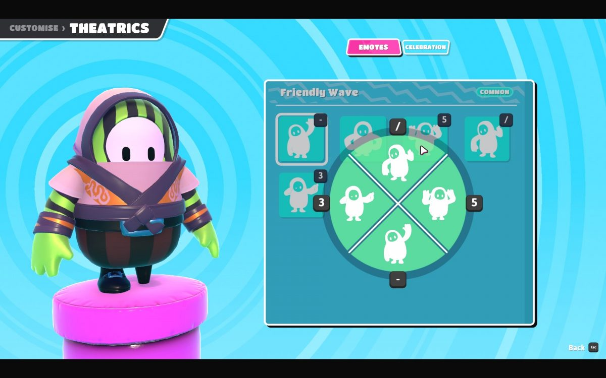 Emote reassign screen with a wheel showing the emotes in use and their keys.