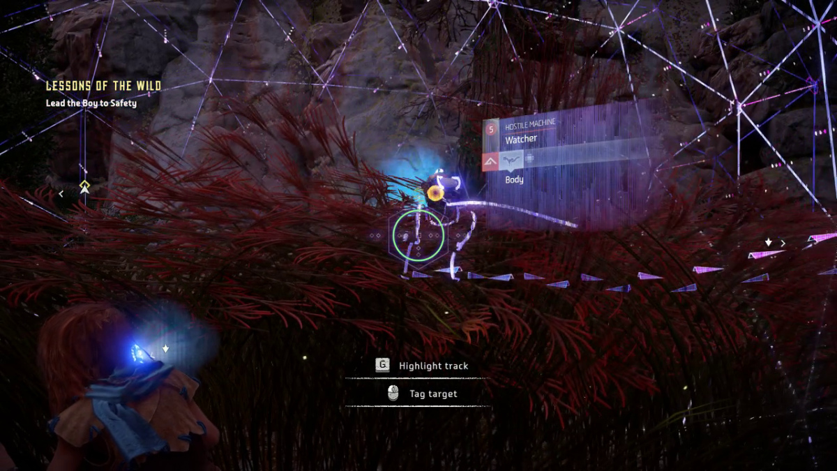 Player is examining an enemy watcher using the Focus. The Focus is a purple HUD that outlines enemies and shows states for the highlighted enemy.