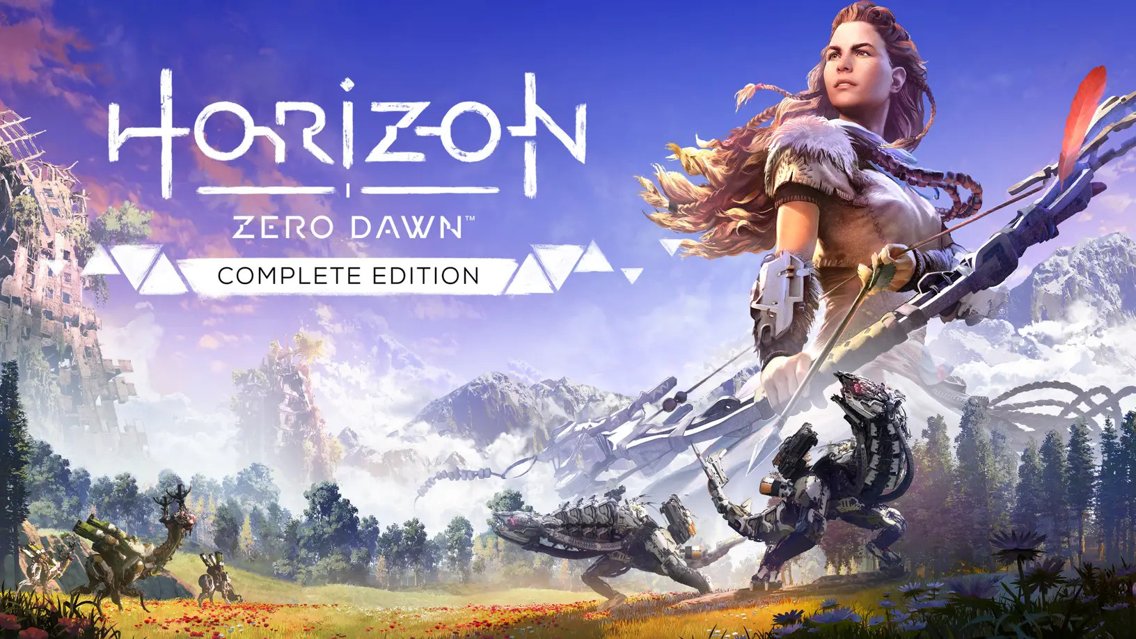 Text to the left reads Horizon Zero Dawn Complete Edition. Aloy, a red haired girl, is to the right and holding her boy. Mountains, forests, and a bright blue sky are featured in the background, with mechanical creatures dwelling.