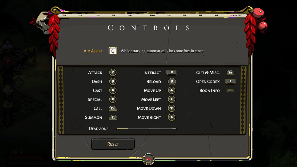Controls Menu, where users can turn on aim assist, remap buttons, and adjust the joystick sensitivity.