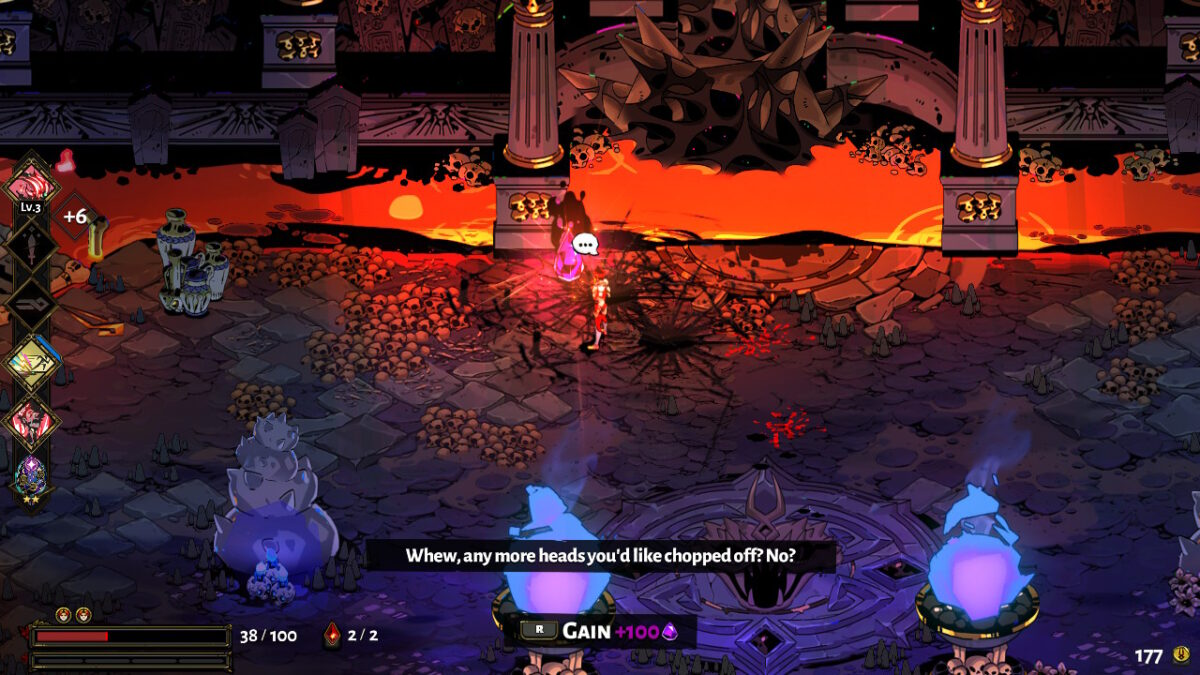 "A lava filled room, where the user is standing in the center after an epic fight. A speech bubble is next to the user and on the bottom, subtitles show that he is saying ""whew, any more heads you'd like chopped off? no?"""