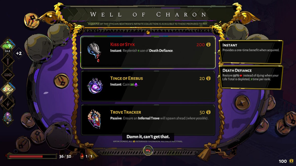 Menu titled Well of Charon. The user is able to purchase three items. The text is very small.