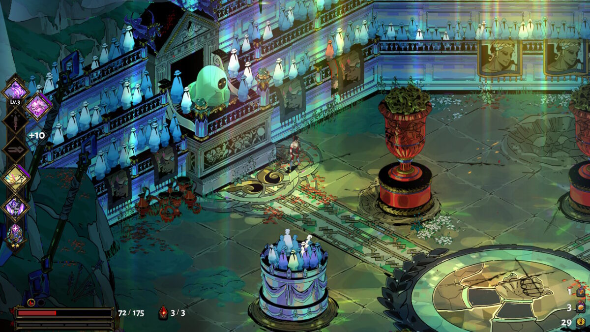 A vibrant green arena filled with ghosts in the stands and tall, red pillars with green withered plants. The main character stands at the center, looking triumphant.