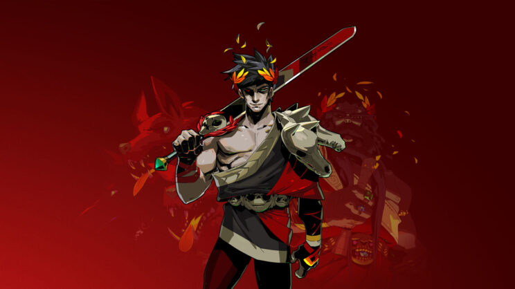 A greek god with black hair and yellow, leaf crown holding a large sword and standing stoically. Behind him is a red background with a three-headed dog.