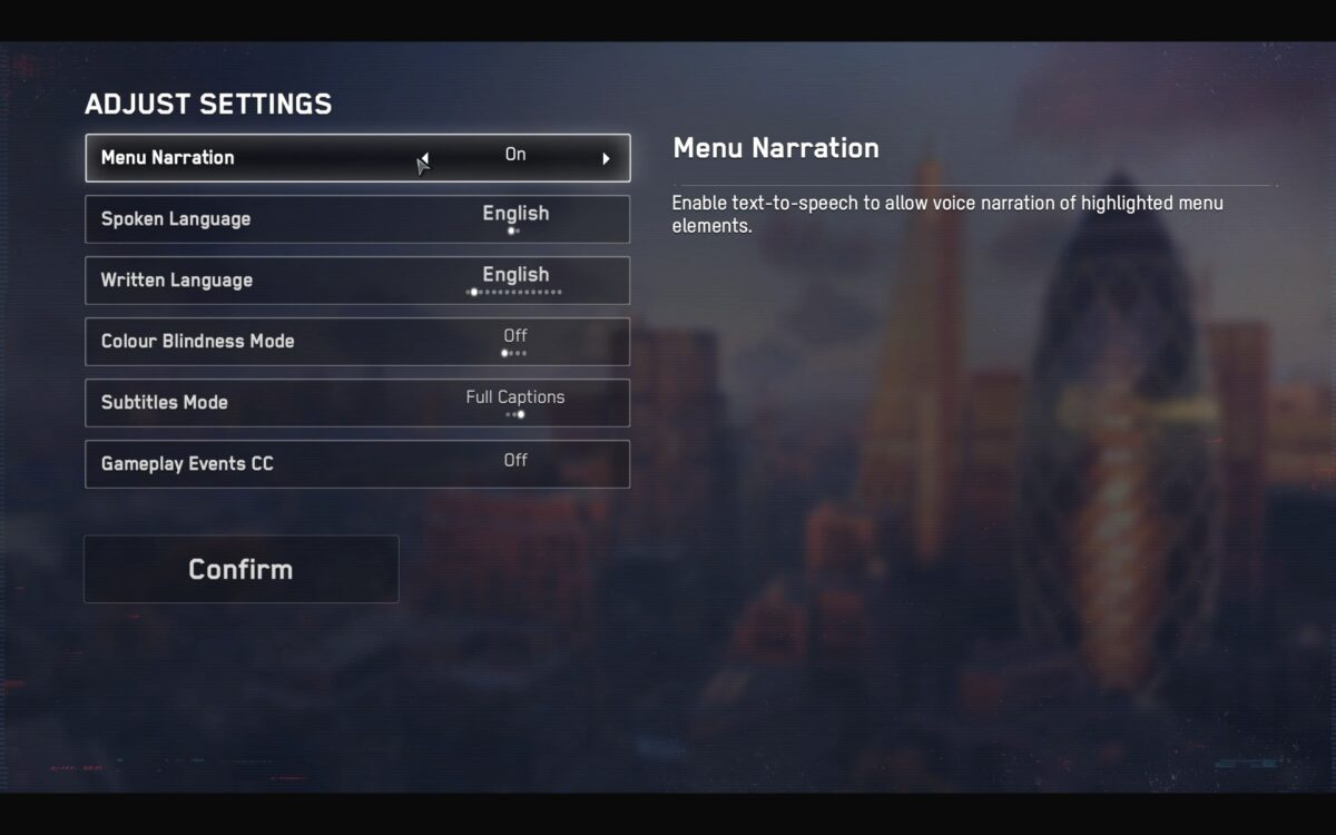 Initial settings show Menu Narration, Spoken and Written Language, Colour Blindness Mode, Subtitles Mode and Game Events CC.