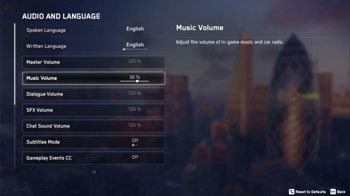 Audio and Language menu showing Spoken and Written Language, volume sliders for Master, Music, Dialogue, SFX and Chat Sound. Subtitle Mode and Gameplay Events CC.