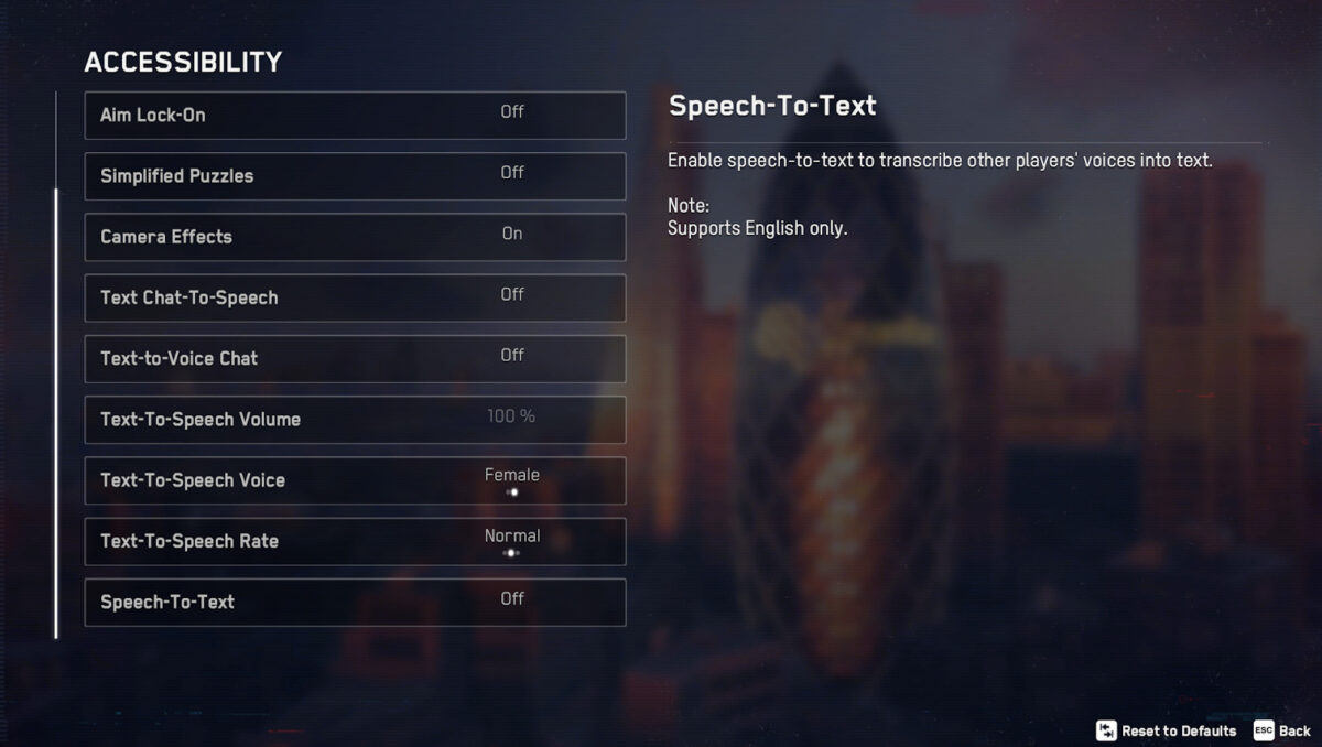 Accessibility menu, where we can adjust aim lock-on, simplified puzzles, camera effects, text chat to speech, text to voice chat, text to speech volume, text to speech voice, text to speech rate, and speech to text