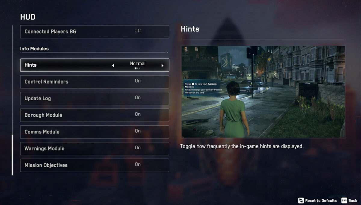 HUD menu, featuring the info modules that can be adjusted: hints, control reminders, update log, borough module, comms module, warnings module, and mission objectives. To the right, a sample screenshot of what the hints look like in game.