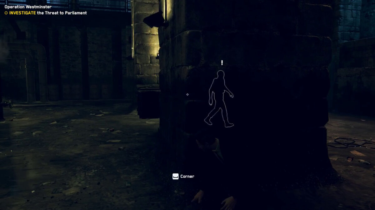 The user is hiding behind the pillar and can see the enemy by the outline.