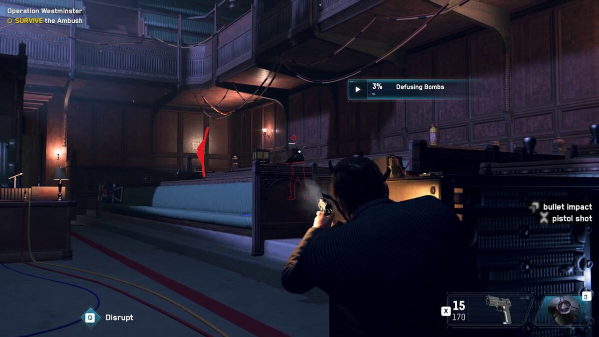 The user is hiding behind a pew and shooting an enemy soldier. cc read that there is a bullet impact on the enemy soldier and a pistol shot from the user. The user is taking damage from their left side, as displayed through a red arc around the crosshair, also known as a directional damage indicator.