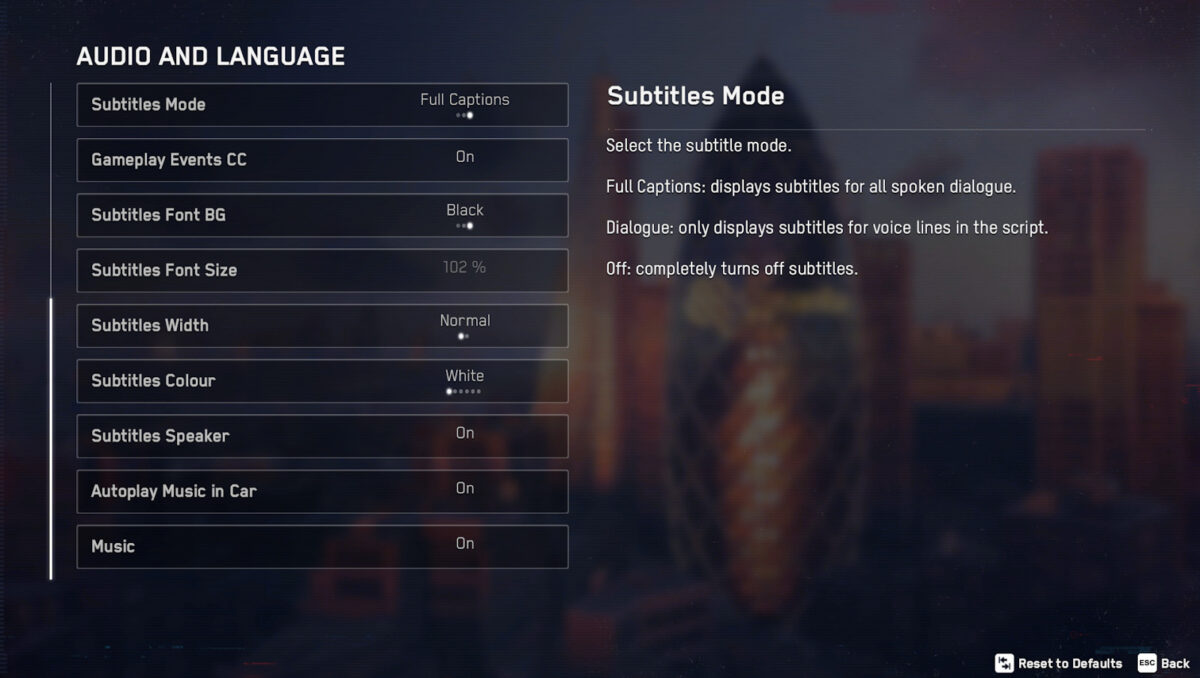 Audio and Language, where we can adjust subtitles mode, gameplay events cc, subtitles font bg, subtitles font size, subtitles width, subtitles color, subtitles speaker, autoplay music in car, and music.