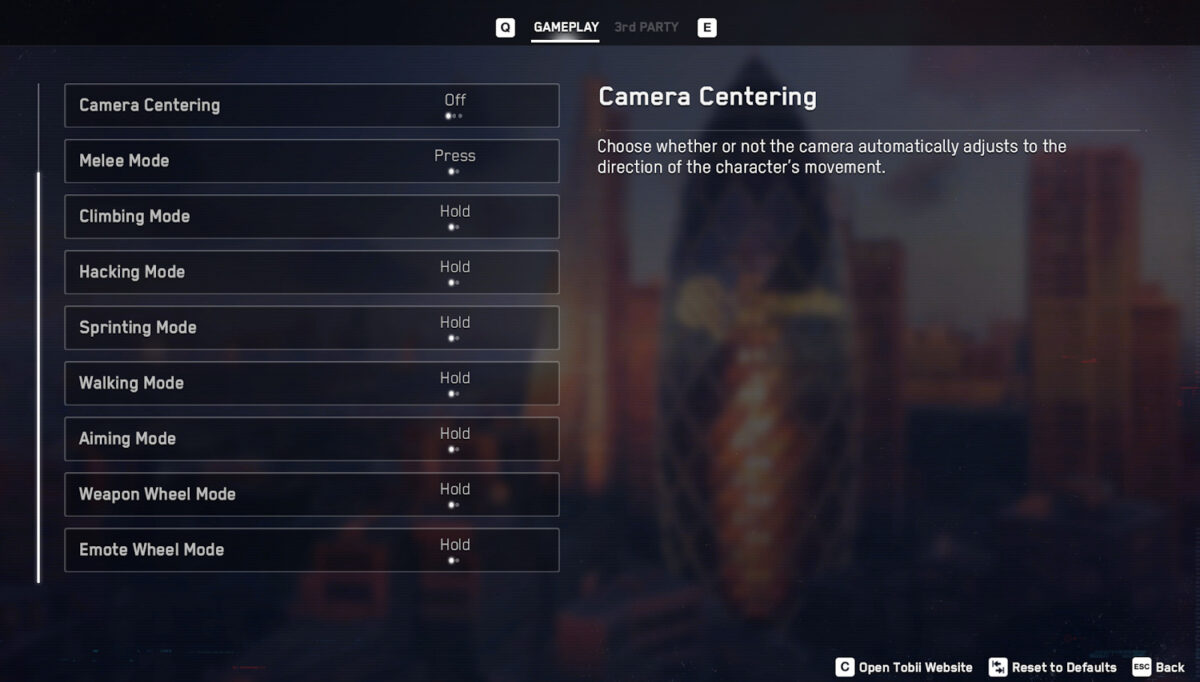 We can adjust camera centering, melee mode, climbing mode, hacking mode, sprinting mode, walking mode, aiming mode, weapon wheel mode, and emote wheel mode. The list is much longer but the gameplay screenshot could not fit it all.