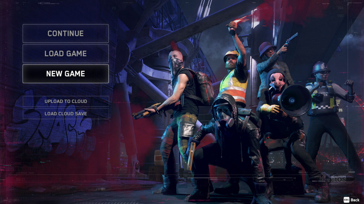 Start screen. Users can select continue, load game, or new game. Below, users can also upload to cloud or load cloud save. Background image is six people in varying gear and costumes posing in an urban setting..