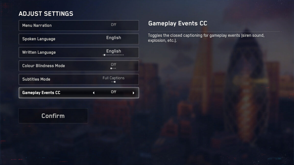 Adjust settings: menu narration, spoken language, written language, color blindness mode, subtitles mode, and gameplay events cc. Below, the user can select confirm. To the right, setting descriptions exist.