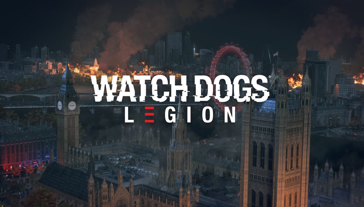 Watch Dogs Legion logo in the center, where the title looks like it is glitching out. Behind is fictional London, where the Big Ben and ferris wheel are present. There is a fire in the distance and the sky is black.
