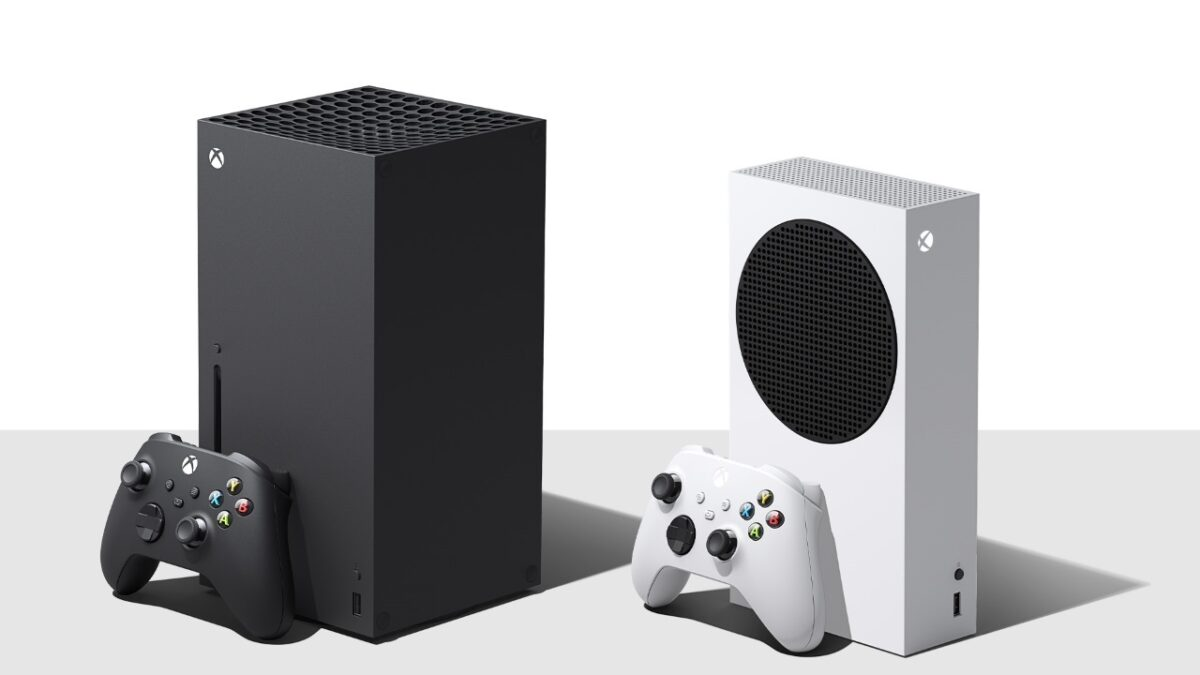 The Xbox series X to the left, which is large and black, and the series S to the right, which is thinner and white.